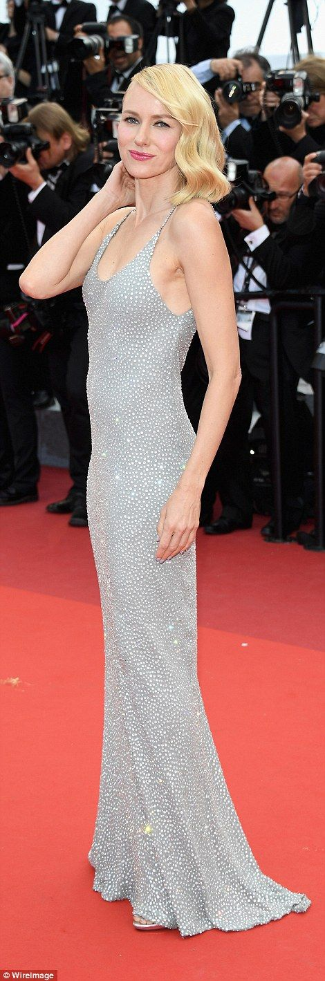 Stunning: Blonde bombshell Naomi was at her elegant best in a slimline silver gown adorned with glistening jewels