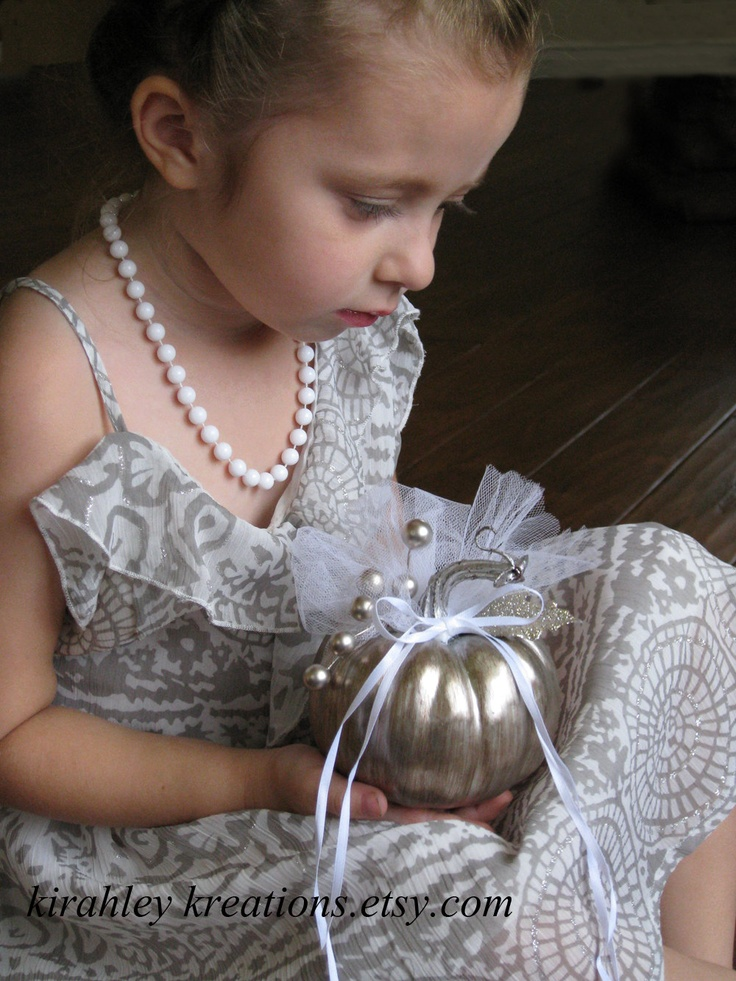 SILVER Cinderella Pumpkin - Wedding Ring Pillow for Ring Bearer or Flower Girls Perfect for Autumn & Fall Weddings - Customization Available. $26.00, via Etsy.