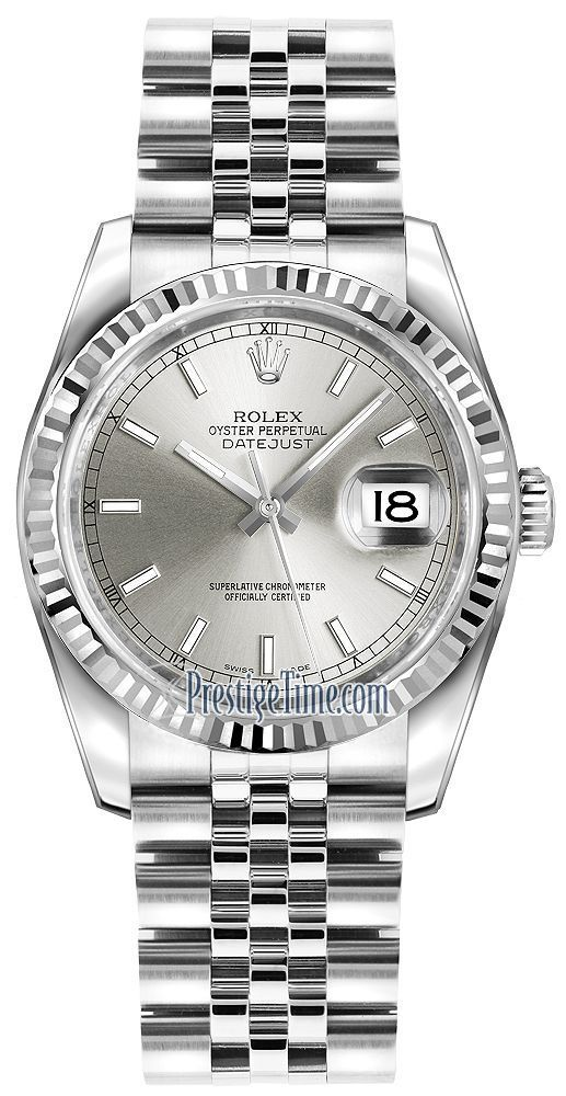 b9609b2d01f63 116234 Silver Index Jubilee Rolex Datejust 36mm Stainless Steel Midsize  Watch