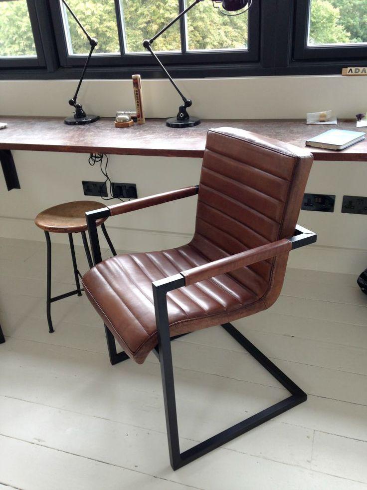 #leather office #chair industrial metal legs