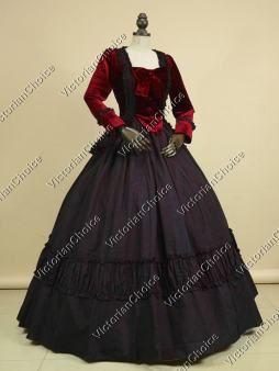 High Quality Civil War Dress Victorian Velvet 2PC Gown Vampire Theatre Halloween Costume