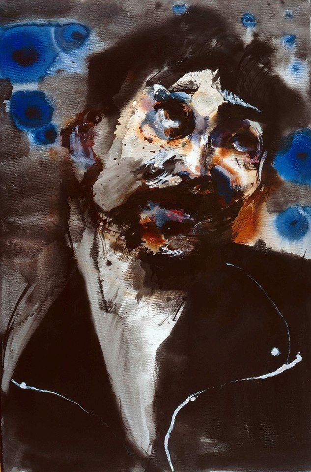 Sneak preview... Rainer Fetting, Fassbinder Baal 2015, Ink on canvas / Tinte auf Leinwand 60 x 40 cm