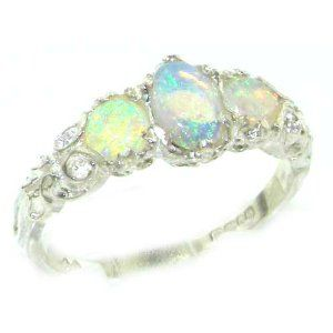 Ladies Solid 14K White Gold Natural Fiery Opal English Victorian Trilogy Ring - Finger Sizes 5 to 12 Available - Perfect Gift for Birthday, Christmas, Valentines Day, Mothers Day, Mom, Grandmother, Daughter, Graduation, Bridesmaid.: Jewelry: Amazon.com