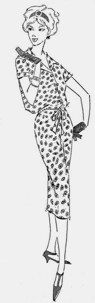 """ANOS DOURADOS: IMAGENS & FATOS: FATOS - M O D A: Vestidos dos anos 50  (1959) Conjunto na linha """"saco"""", com lacinho na frente e em """"surah"""" estampado"""
