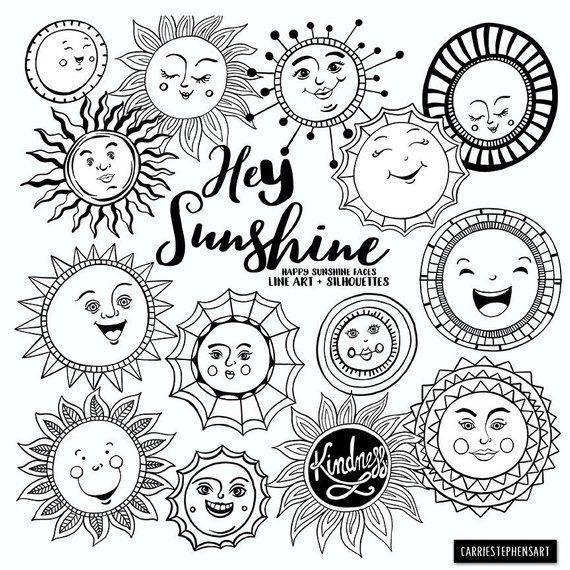 Sunshine Doodle Face Clipart Summer Sun Art Journal Digital