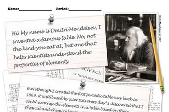 Full Periodic table lesson covering Dmitri Mendeleev. PowerPoint, notes, worksheet! Upper elementary, middle grades, early high school.
