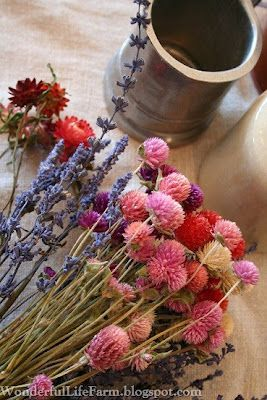 """Summer in Winter"" - dried flower arrangements from Wonderful Life Farm."