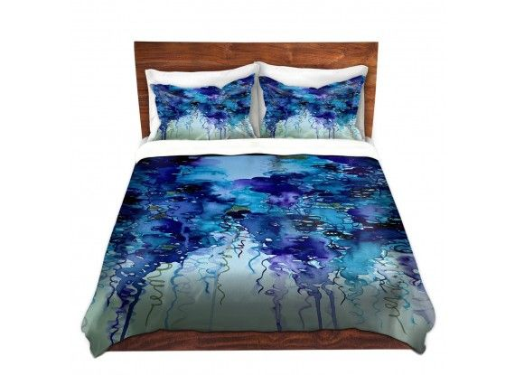 Ebi Emporium Duvet Covers and Pillow Shams, Artist Julia DiSano on Dianoche Designs, Colorful Whimsical Abstract Painting Designer bedroom Bedding Home Decor Dorm Room Style #blue #indigo #rain #clouds #abstract #art #fineart #homedecor #decor #bedroom #bedding #pillow #shams #duvet #duvetcover #dorm #style #navyblue #elegant #stylish #decorative