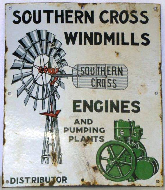 Sign for Southern Cross Windmills Engines and Pumping Plants.