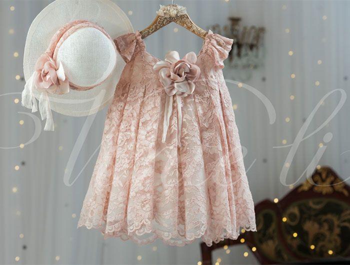 Βαπτιστικά ρούχα, φόρεμα Vinte li ροζ δαντελένιο 2521
