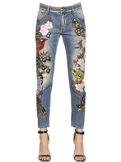 Couture Embellished Cotton Denim Jeans