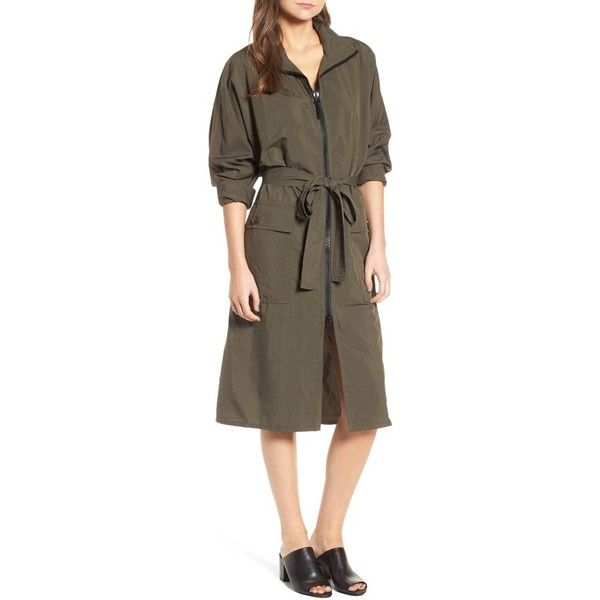 Women's James Perse Zip Front Jacket Dress (£455) ❤ liked on Polyvore featuring dresses, army green, army green dress, lightweight dresses, olive green dresses, light weight dresses and james perse