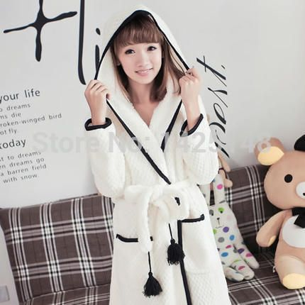 Cheap pajama sets for women, Buy Quality pajama sexy directly from China pajama pictures Suppliers:   Women coral velvet long-sleeved hooded robe lovely tracksuit autumn and winter pajamas bathrobe SY18 &n