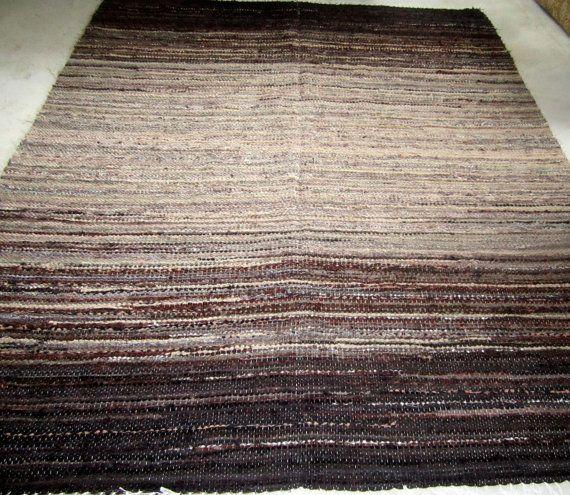 Large Handwoven rag rug  59' x 741'Brown and beige' by Gunaspalete, €99.00