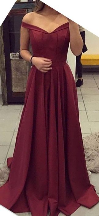 Off Shoulder Prom Dresses,Long Prom Dresses,A-line Prom Dresses,Simple Cheap Prom Dress,Evening Dresses,Prom Dresses 2017