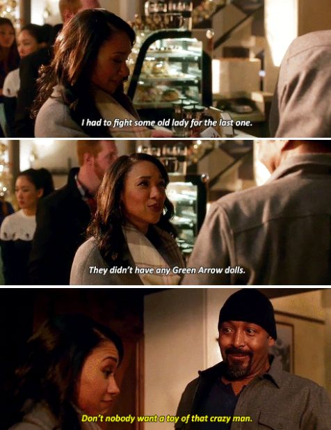 """Don't nobody want a toy of that crazy man"" - Joe and Iris #TheFlash ((poor Oliver, hahaha))"