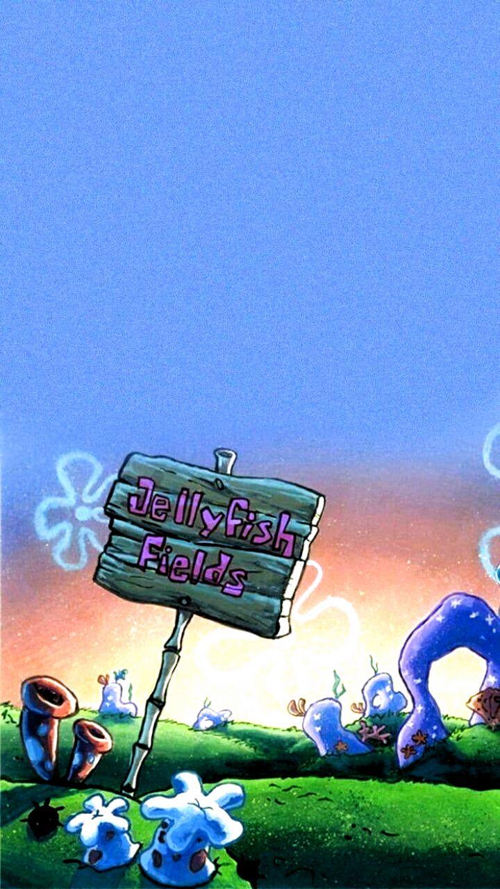 Jellyfish Fields From Spongebob In 2020 Cartoon Wallpaper Iphone Wallpaper Iphone Cute Spongebob Wallpaper