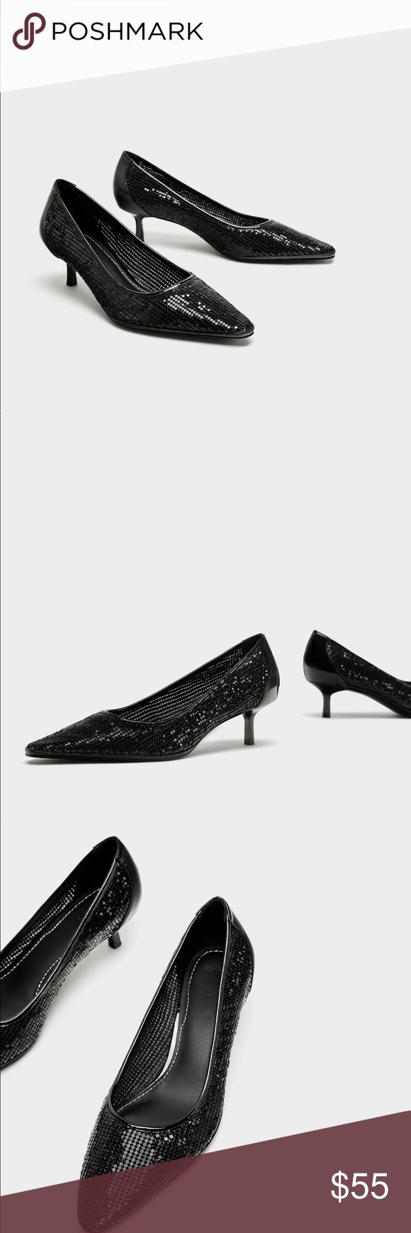 """ZARA Metal Mesh Low Heel court shoes US 9 EU 40 ZARA Meta Mesh Low Heel court shoes US size 9 EU size 40 Black mid-heel shoes. Mesh detail on the upper. Patent finish back. Heel height 2.0"""" New with tag Zara Shoes Heels"""