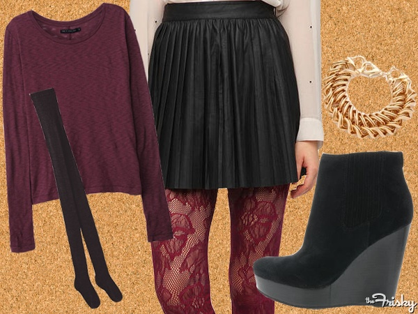 If it is too cold out, layer up with sexy fabrics like leather, lace, and suede. #Vday