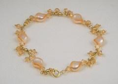 Cultured Pearl and Light Rose Crystal Bracelet