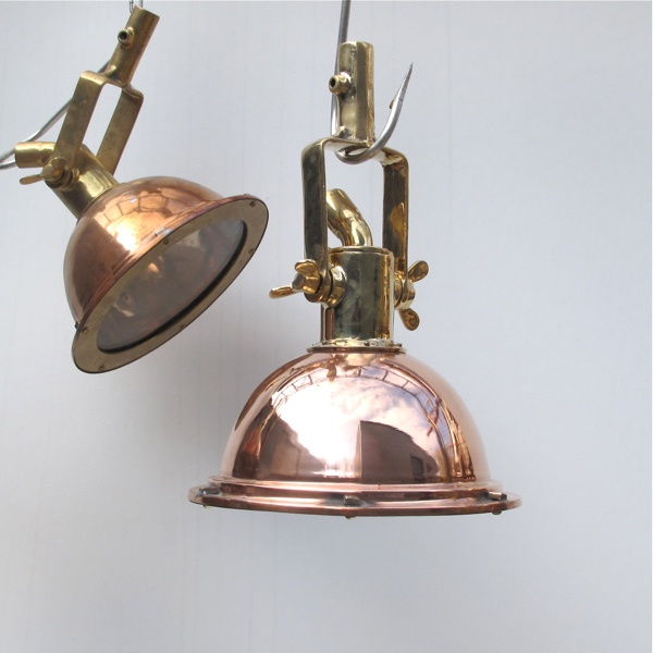 New Brass and Copper Cargo Lights, Industrial & Ships Lighting - Ceiling and Pendant Lights