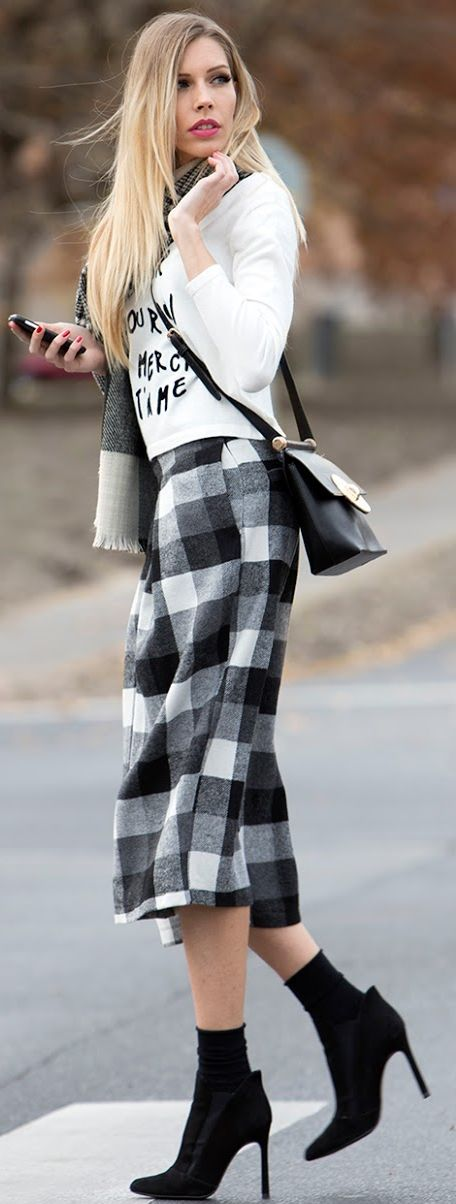 My Fashion World Checkered Culottes Fall Street Style Inspo