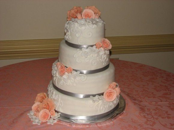 Peach and gray Wedding Cake