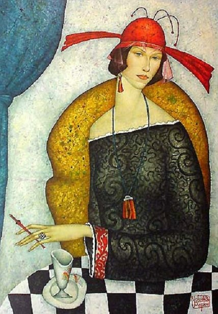 La Dame Daut by  Volodia Popov.  Born 1961 Popov is a Russian painter living in France fro whom no one stylistic influence reigns in his works.
