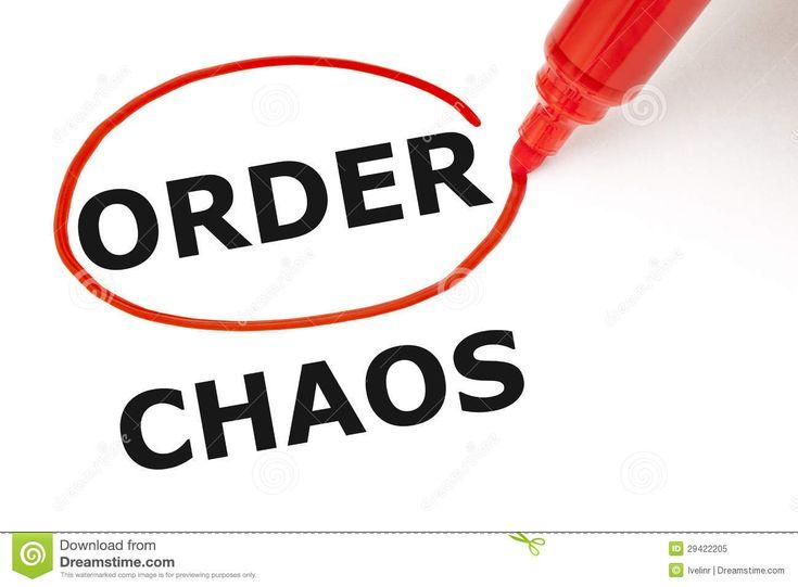 Adjetivos: Orden- cuando cosas no son caótico, cuando todo es organizado