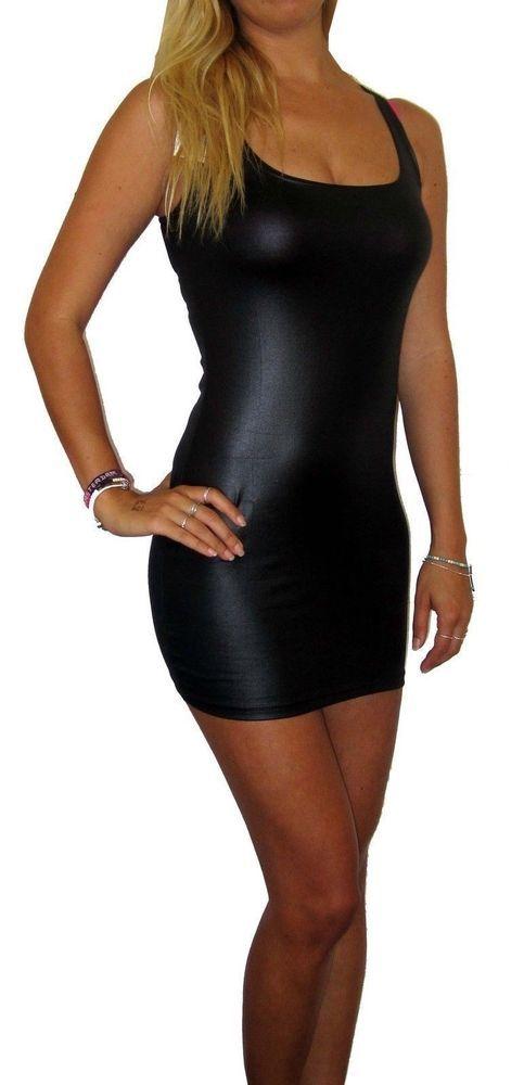 Womens Ladies Mini Leather Look Pvc Clubwear Dress Black Uk 20