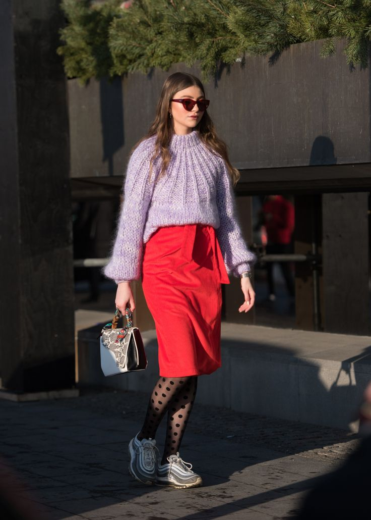 The Best Stockholm Street Style Photos of Fall 2018, lilac sweater, purple knitted sweater, mohair purple sweater, dotted sheer black tights,