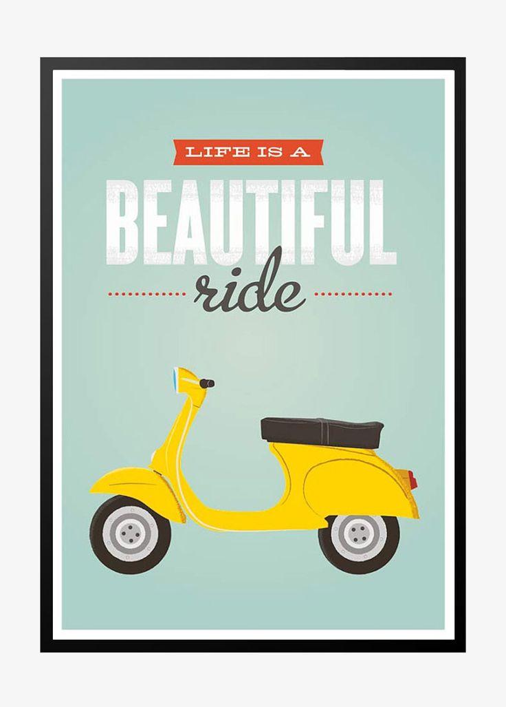 Life is a beautiful ride – retro plakat