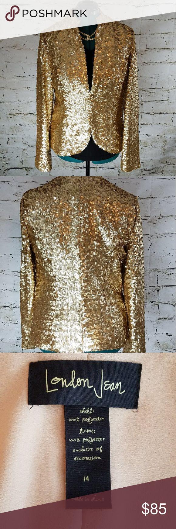 London Jeans Victorias Secret Sequin Blazer 14 London Jeans Victorias Secret gold  Sequin Blazer 14. New without tags. Never worn. Victoria's Secret Jackets & Coats Jean Jackets
