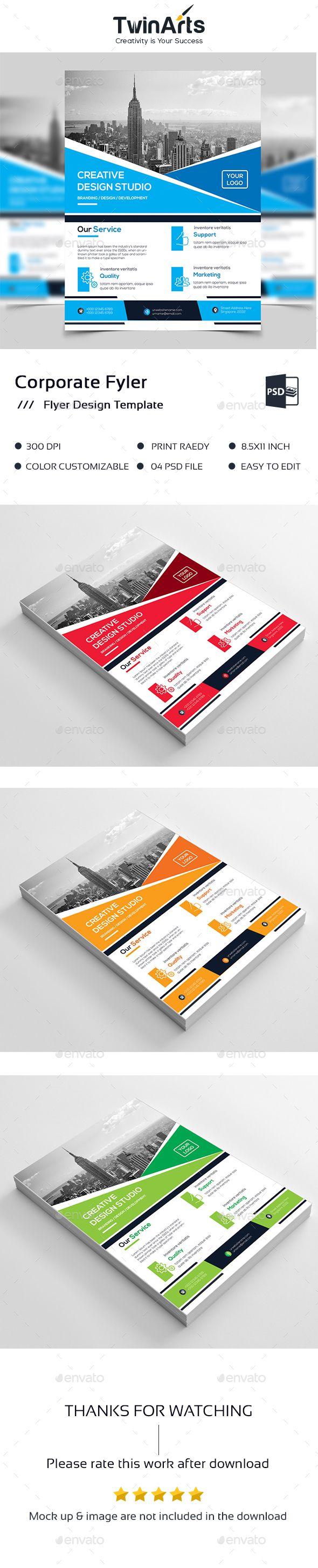 Corporate Flyer Design Template PSD #busness #design