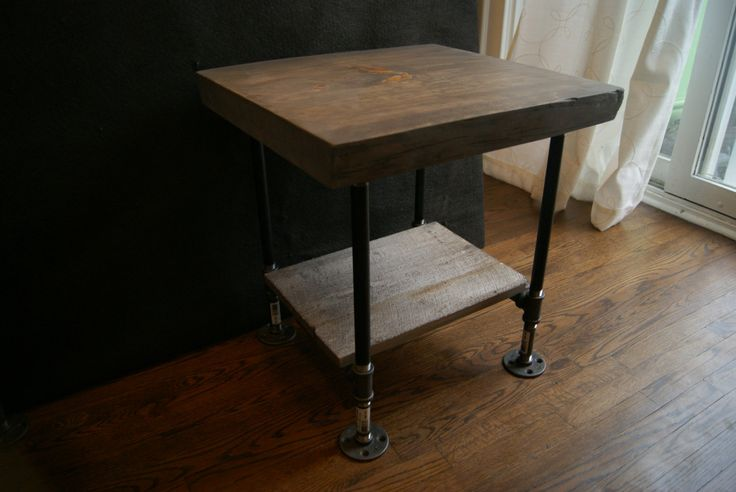 Natural Edge Ash Grey End Table with Barn board Shelf | Live Edge End Table Slab Wood | Industrial Pipe Legs live edge wood table rustic coffee table willow table natural edge table pipe furniture wood and pipes natural table rustic table cottage table end table rustic furniture