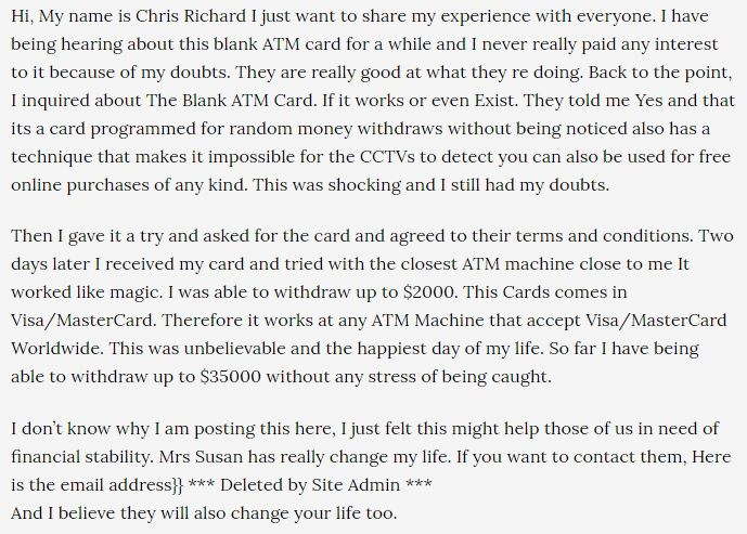 Another example of a spam comment from another ATM card scam.