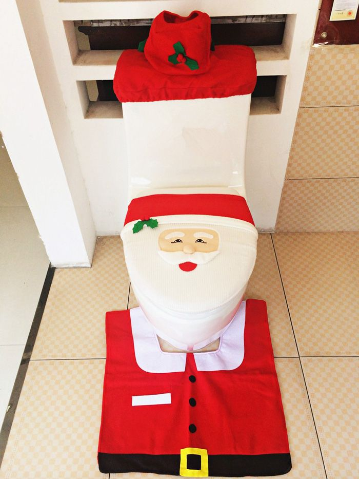 3pcs Fancy Santa Tiolet Seat Cover and Rug-7.94 and Free Shipping  GearBest.com