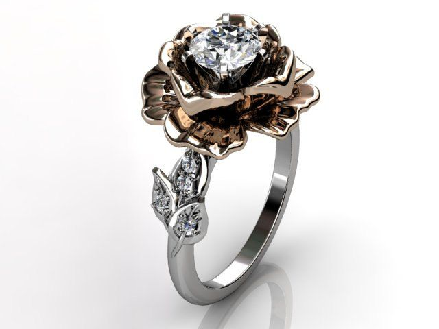 14k two tone white and rose gold diamond unusual unique floral engagement ring, bridal ring, wedding ring ER-1032-5. $1,259.99, via Etsy.