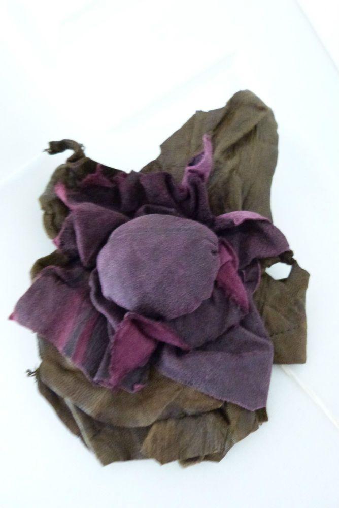 stunning ZUZA BART INDIVIDUAL CREATION LEATHER PIN BROOCH