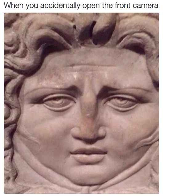 When you accidentally open the front facing phone. 19 Times Art History Reactions Were Too Funny