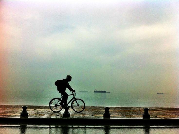 Cycling, Waterfront, Thessaloniki, Greece