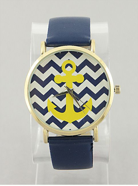 P.S. I Love You More Boutique | Navy & Yellow Chevron Anchor Watch | Summer Fashion 2015 www.psiloveyoumoreboutique.com
