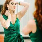 Зеленый Асимметричная платье драпировка