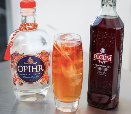 20ml Opihr Gin, 20ml Bloom Gin Strawberry Cup & 150ml ginger ale with grated ginger. This amazing #cocktail has been created by 'Gin Glorious Gin' author, Olivia Williams. #OphirGin #BloomGin