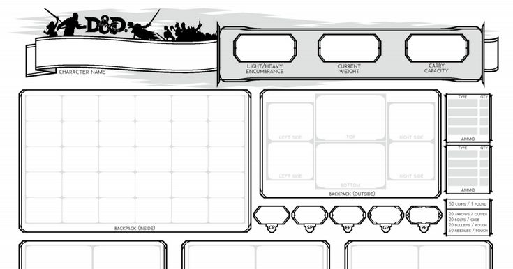 D D 5e Character Sheet Double Sided Printable: D&D Character Sheets