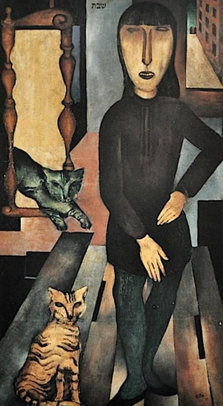"""Cats in Art and Illustration: Jankel Adler (Yankel Adler) (1895-1949). He was a Polish painter and engraver of the Jewish faith. He belonged to the outlawed and persecuted by the Nazis. His work was on the exhibition """"Ausstellung """"Entartete Kunst""""."""