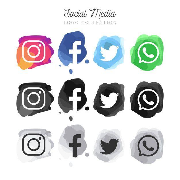 Baixe Colecao Moderna De Logotipo De Midia Social De Aquarela Moderna Gratuitamente Social Media Icons Free Social Media Logos Social Media Icons Vector
