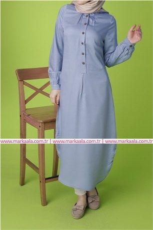 Düğme Detaylı Tunik-Çivit Mavi-Allday-50349 #tesettür #giyim #ayakkabı #pantolon #allday #markaala #düğme #hijab #elbise #tunik #pardesü #ferace #çanta