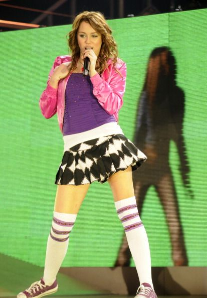 Miley Cyrus performs during her 'Miley Cyrus/Hannah Montana Best of Both Worlds' Tour at Nassau Coliseum on December 27 2007 in Uniondale New York