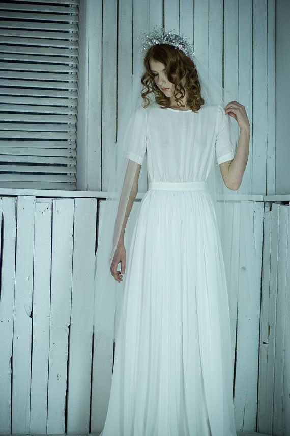 Sheath modest short fitted sleeve wedding dress by CathyTelle